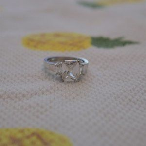 Faux Diamond Silver Ring